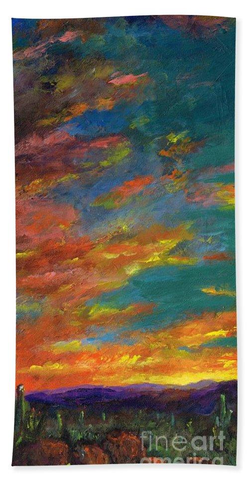 Desert Beach Sheet featuring the painting Triptych 1 Desert Sunset by Frances Marino