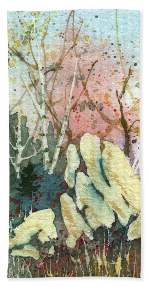 Landscape Beach Towel featuring the painting Triptych Panel 1 by Lynn Quinn