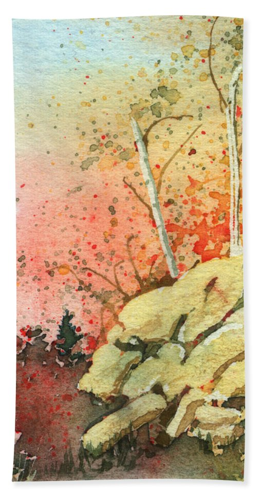 Landscape Beach Sheet featuring the painting Triptych Panel 2 by Lynn Quinn