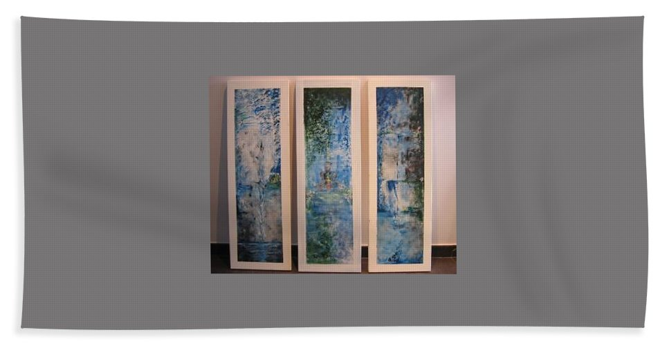 Meditation Beach Towel featuring the painting Triptych Spiritual Meditation by Lizzy Forrester