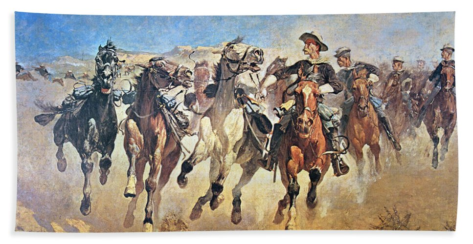 Dismounted: The 4th Troopers Moving Beach Towel featuring the painting Troopers Moving by Frederic Remington
