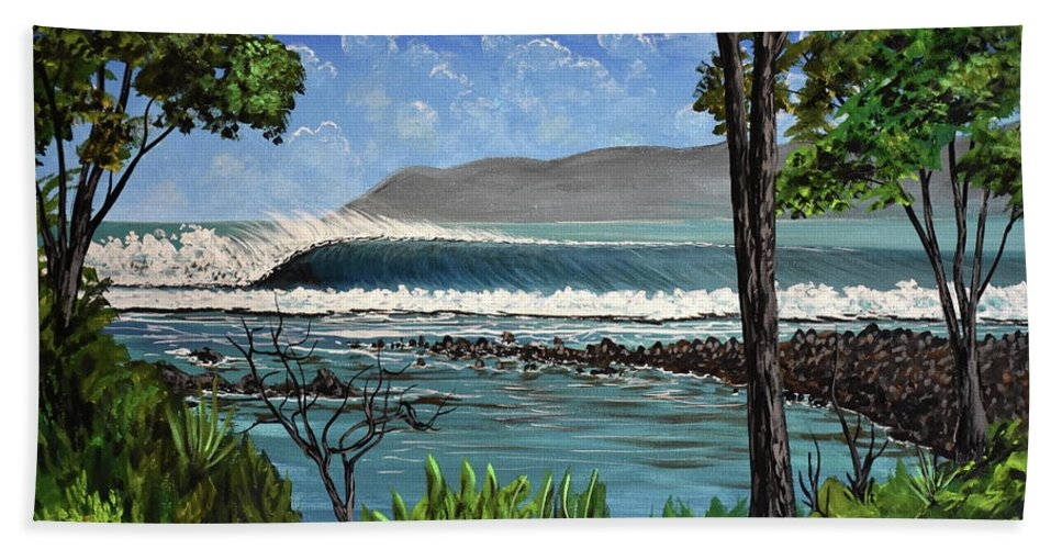 Pavones Beach Towel featuring the painting Tropic Vibrations by Marty Calabrese