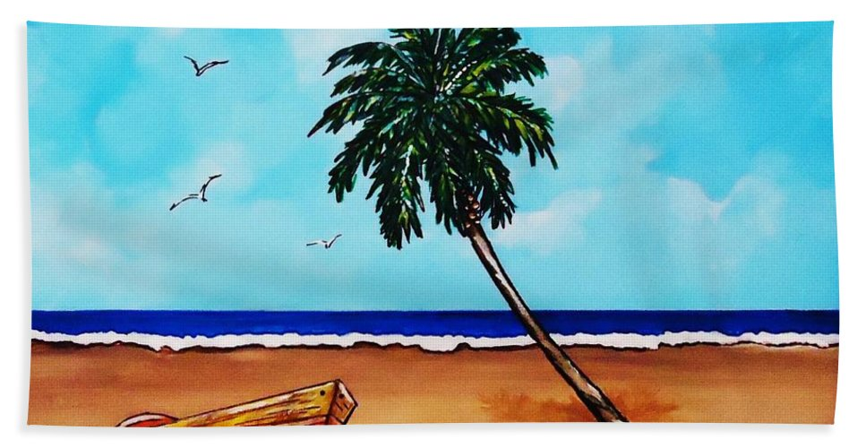 Palm Tree Beach Towel featuring the painting Tropical Beach Scene by Lois  Rivera