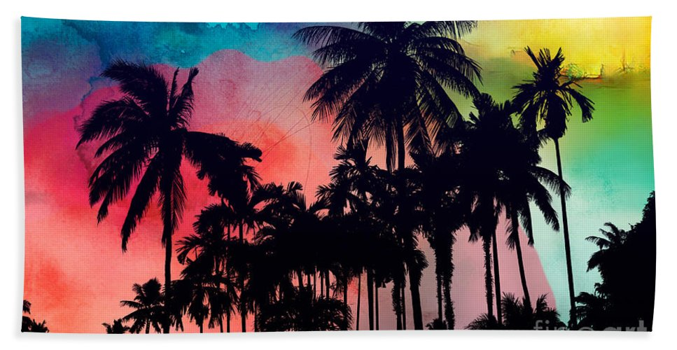 Beach Towel featuring the painting Tropical Colors by Mark Ashkenazi