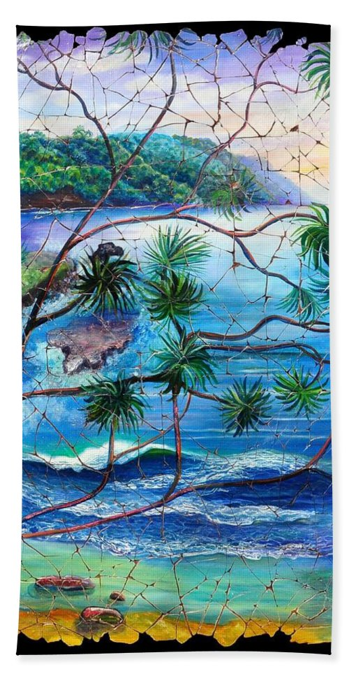 Tropical Cove Set Beach Towel featuring the painting Tropical Cove Fresco Triptych 2 by OLena Art Brand