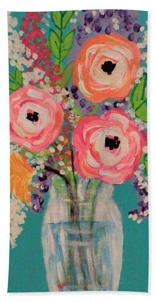 Mason Jar Beach Towel featuring the painting Tropical Flair by Melisa Farthing
