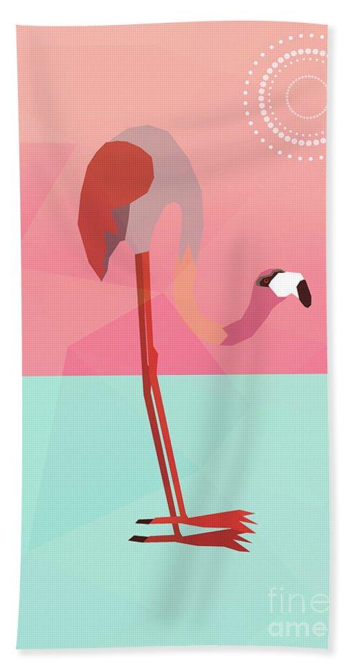 Flamingo Beach Towel featuring the digital art Tropical Flamingo by Mark Ashkenazi
