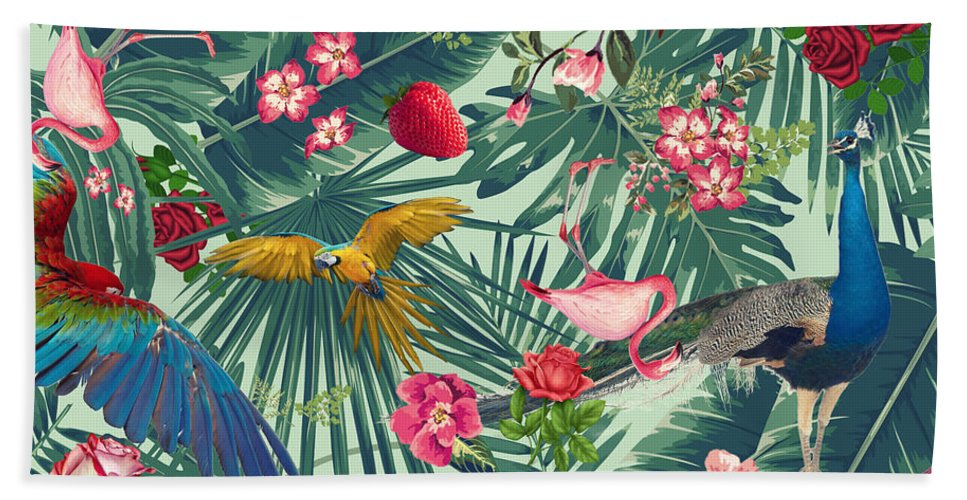 Summer Beach Towel featuring the digital art Tropical Fun Time by Mark Ashkenazi