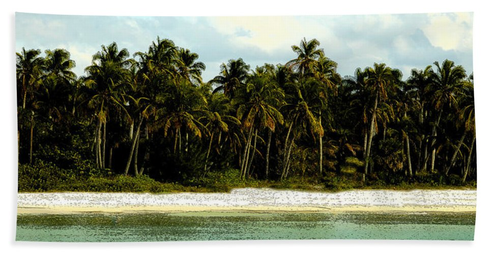 Tropical Beach Towel featuring the painting Tropical Island by David Lee Thompson