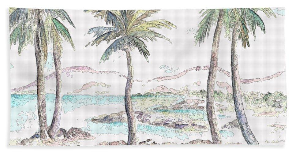 Island Beach Towel featuring the digital art Tropical Island by Elizabeth Lock