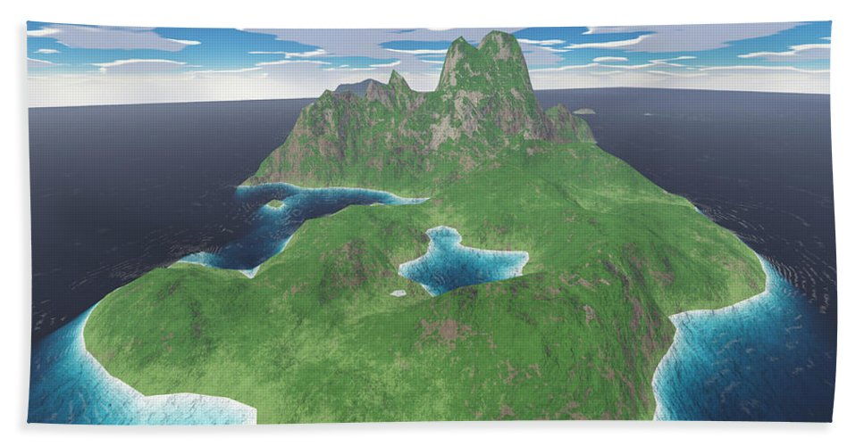 Aerial Beach Towel featuring the digital art Tropical Island by Gaspar Avila