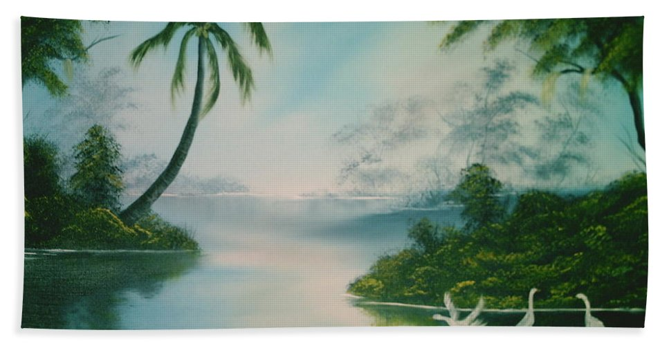 Tropical Island Beach Towel featuring the painting Tropical Lagoon by Jim Saltis