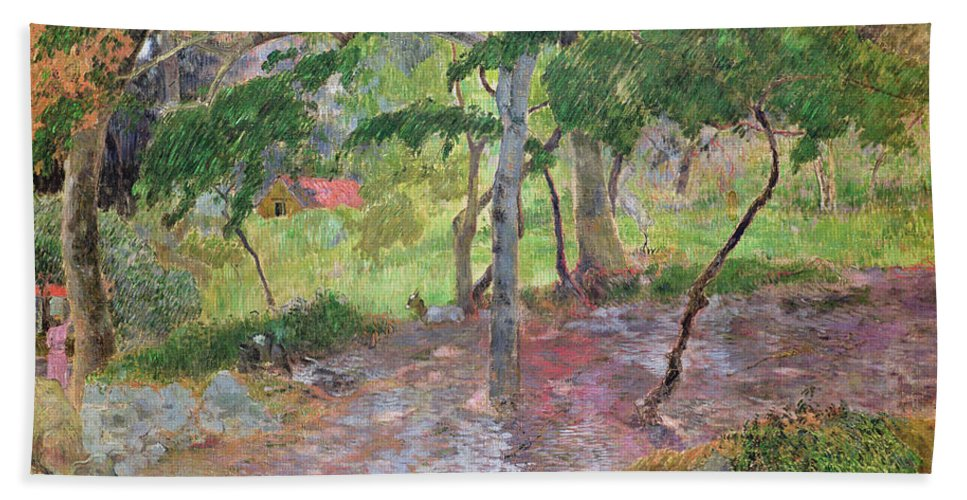 Tropical Landscape Beach Towel featuring the painting Tropical Landscape by Paul Gauguin