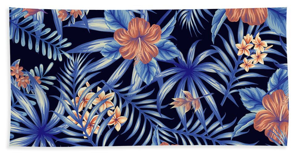 Tropical Beach Towel featuring the digital art Tropical Leaf Pattern 4 by Stanley Wong