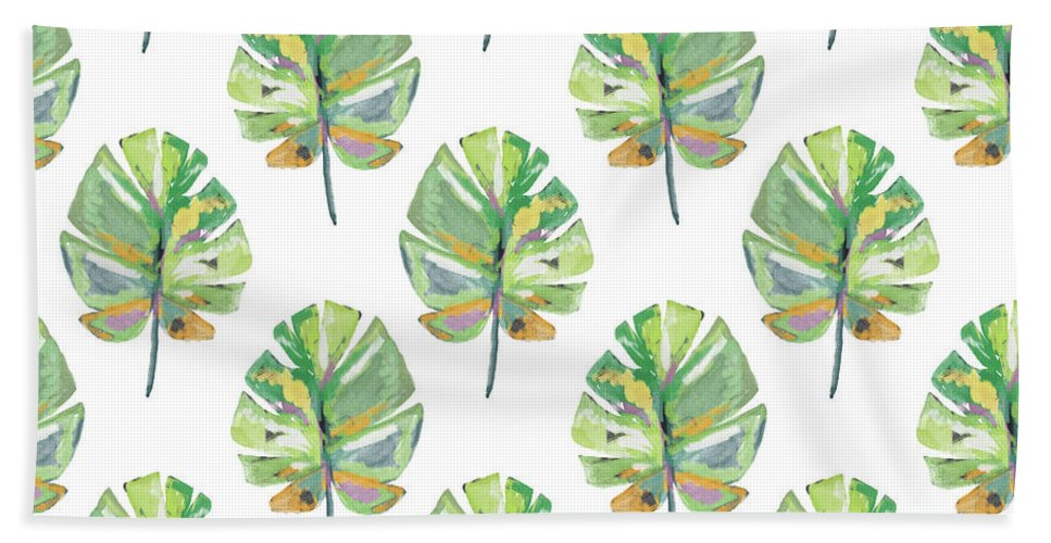 Tropical Beach Towel featuring the mixed media Tropical Leaves On White- Art By Linda Woods by Linda Woods