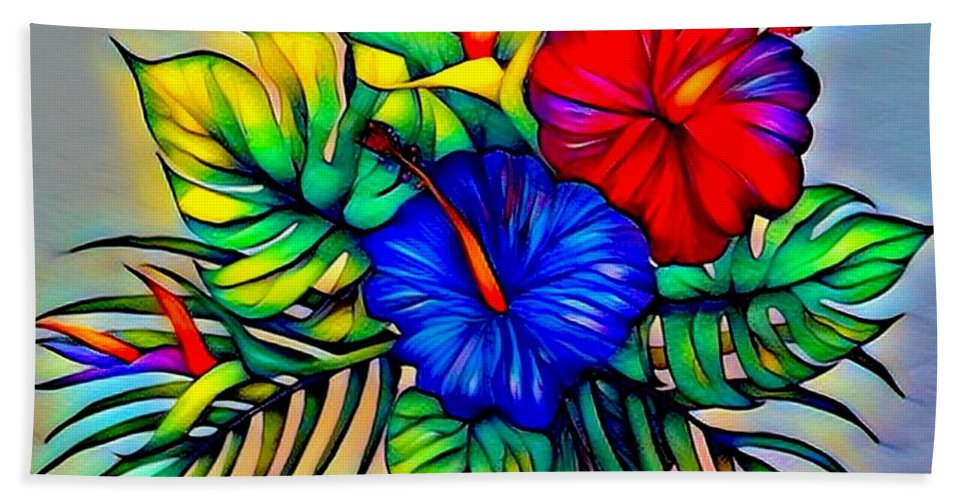 Original Prismacolor Pencil Drawing Digital Photograph By Breenabriggemanart Hibiscus Flowers Floral Beach Tropical Ocean Whimsical Charming Cheerful Colorful Bright Beach Towel featuring the digital art Tropical Neon Boutique by Breena Briggeman