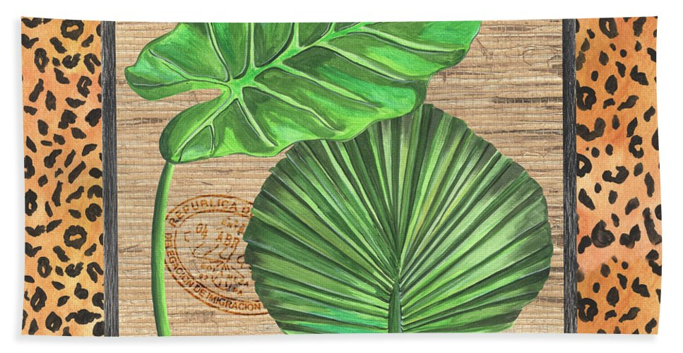 Palm Beach Towel featuring the painting Tropical Palms 1 by Debbie DeWitt