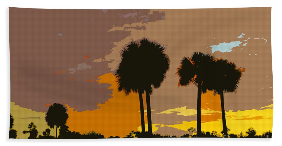 Tropical Beach Towel featuring the painting Tropical Palms Work Number Three by David Lee Thompson