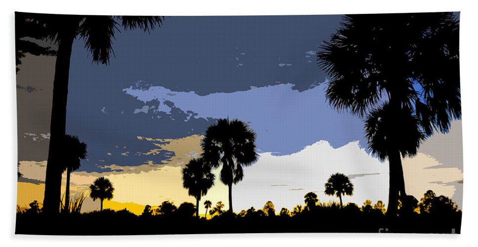 Tropical Beach Towel featuring the painting Tropical Palms Work Number Two by David Lee Thompson