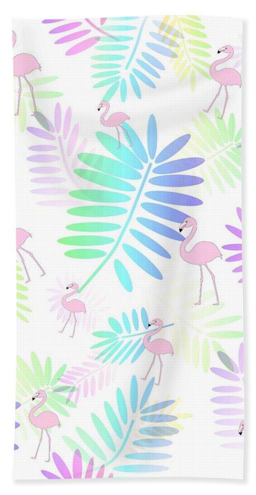 Pink Flamingos Beach Towel featuring the digital art Tropical Pink Flamingos by Kathleen Sartoris