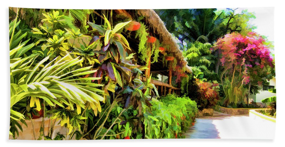 Grass Gazebo Beach Towel featuring the photograph Tropical Splendor by Douglas Barnard