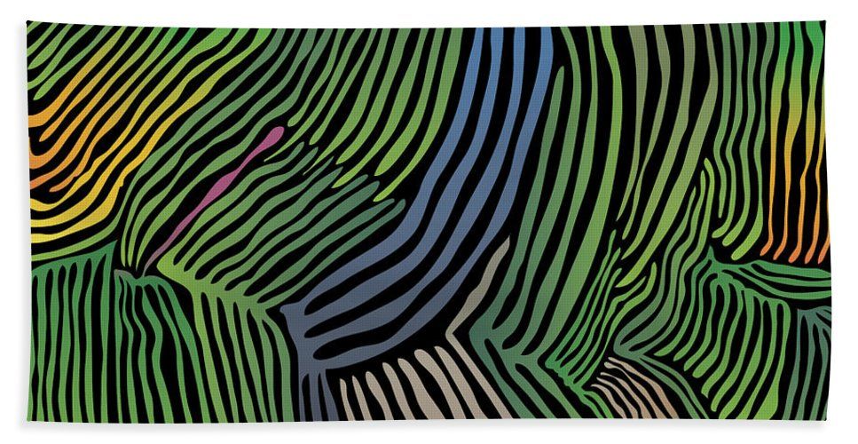 Jungle Beach Towel featuring the digital art Tropical Striations by Kevin McLaughlin