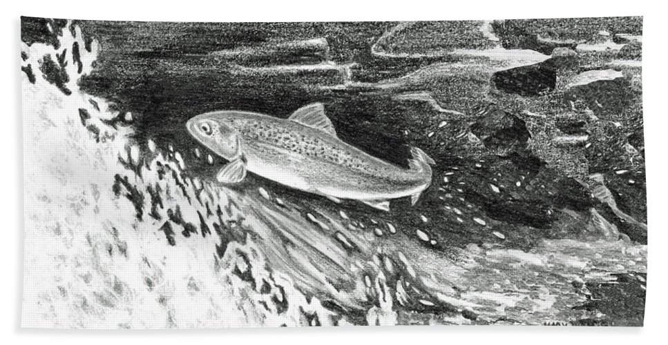 Trout Beach Towel featuring the painting Trout II by Mary Tuomi