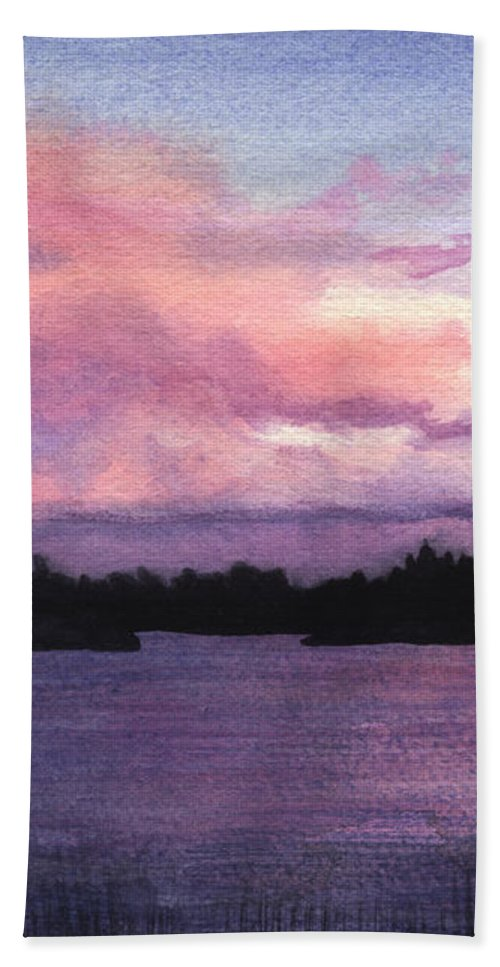 Landscape Beach Towel featuring the painting Trout Lake Sunset I by Lynn Quinn