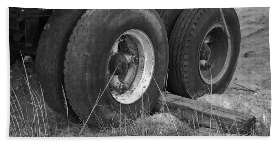 Black And White Beach Towel featuring the photograph Truck Tires by Rob Hans