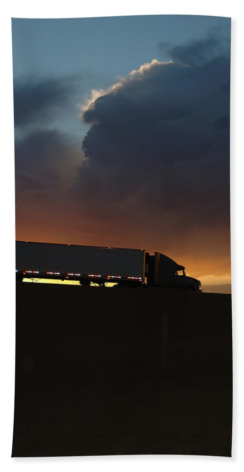 Truck Beach Towel featuring the photograph Trucking Along by Jerry McElroy