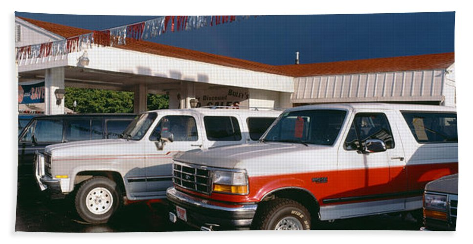 Photography Beach Towel featuring the photograph Trucks In Used Car Lot, St. George, Utah by Panoramic Images