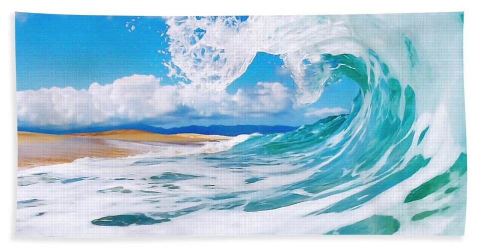 Ocean Beach Towel featuring the painting True Blue by Paul Topp