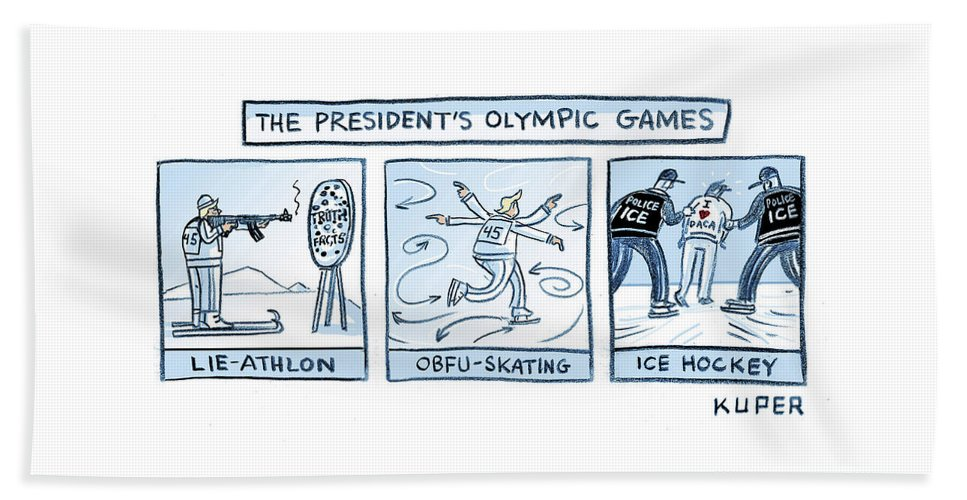 The President's Olympic Games Beach Sheet featuring the drawing Trump Olympic Games by Peter Kuper
