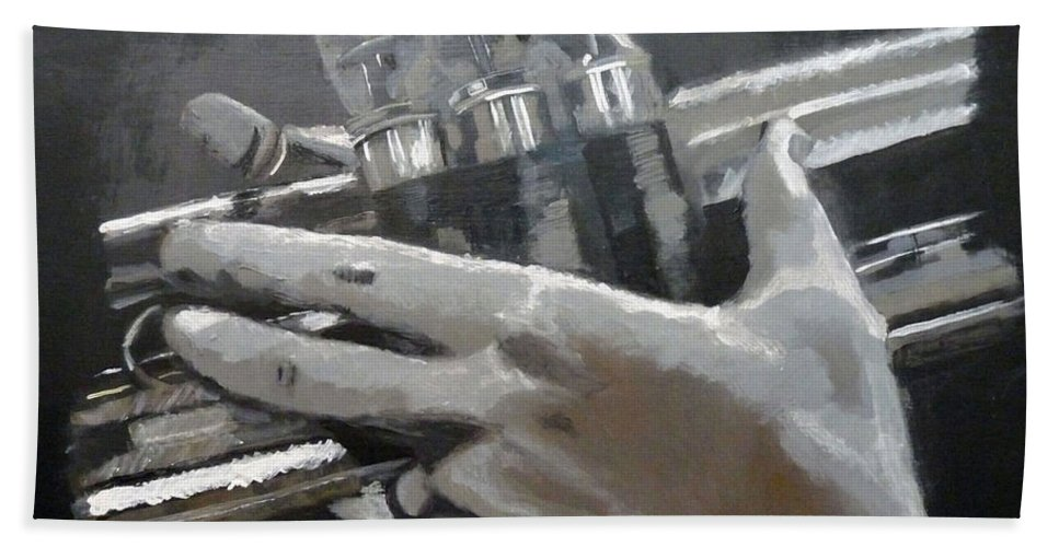 Trumpet Valves Beach Towel featuring the painting Trumpet Hands by Richard Le Page