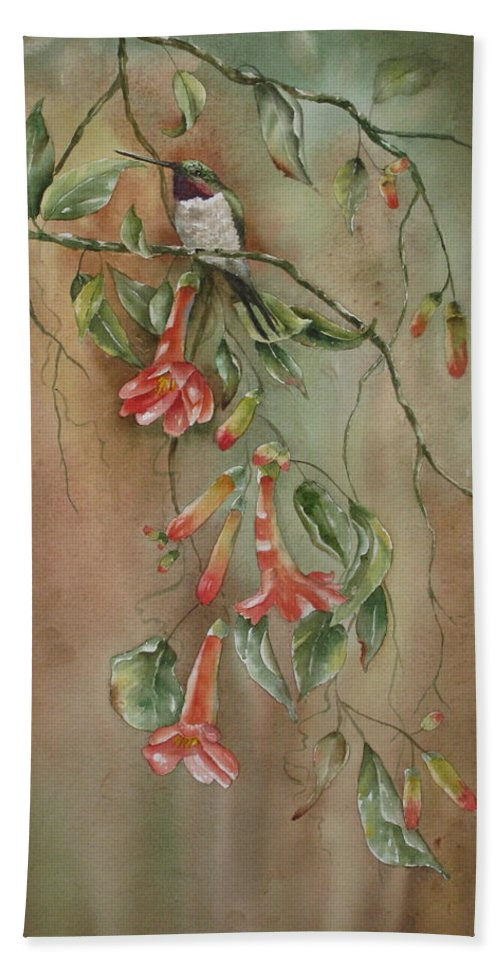 Hummingbird Beach Towel featuring the painting Trumpet Nectar by Mary McCullah