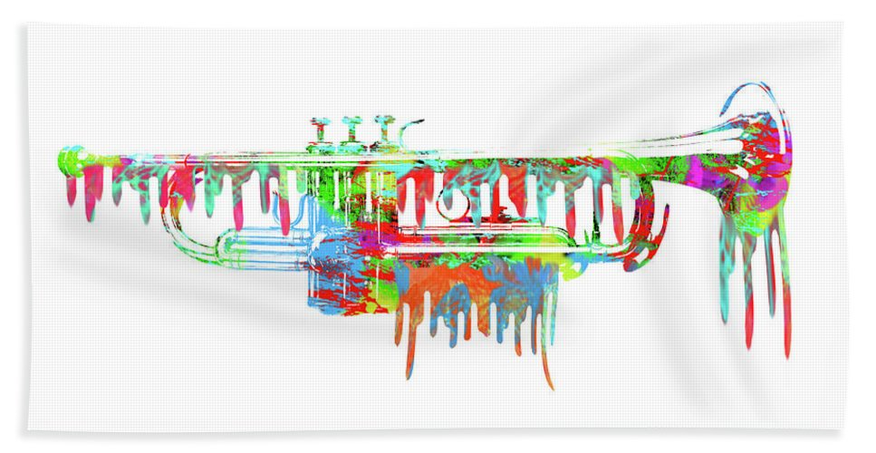 Painted Beach Towel featuring the digital art Trumpet Painted Digital Art by Les McLuckie