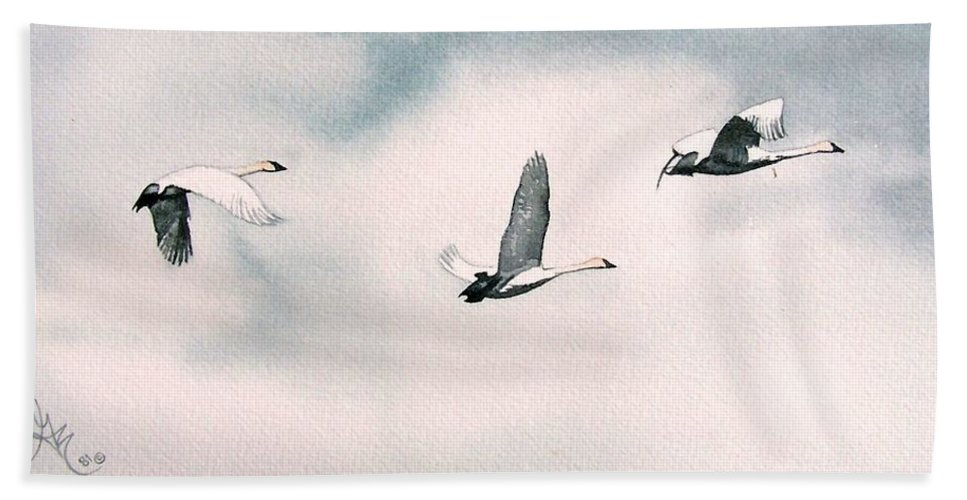Swans Beach Towel featuring the painting Trumpeters by Gale Cochran-Smith