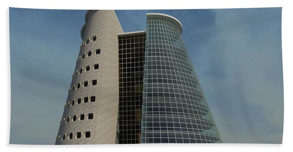 Building Rendering Beach Towel featuring the digital art Truncated Building by Ron Bissett