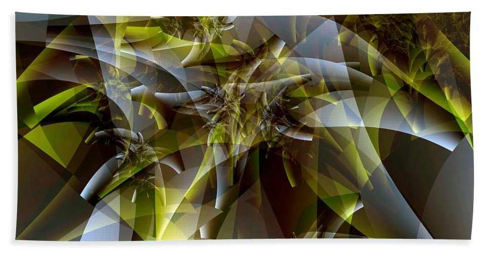 Fractal Art Beach Towel featuring the digital art Trunks In Green And Gray by Ron Bissett