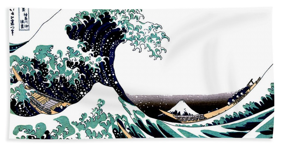 98e538aec41a Wave beach sheet featuring the drawing tsunami and mount fuji vintage  japanese ukiyo e art jpg