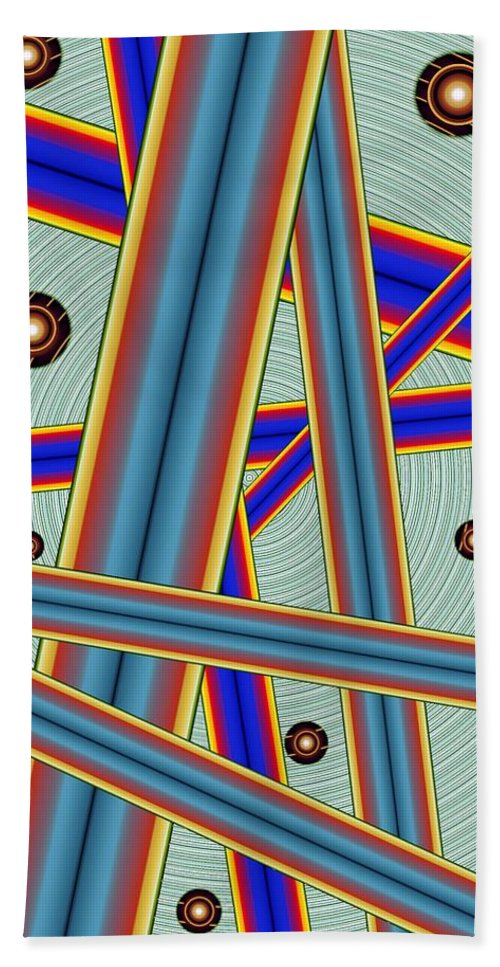 Abstract Beach Towel featuring the digital art Tubes Two by Ron Bissett