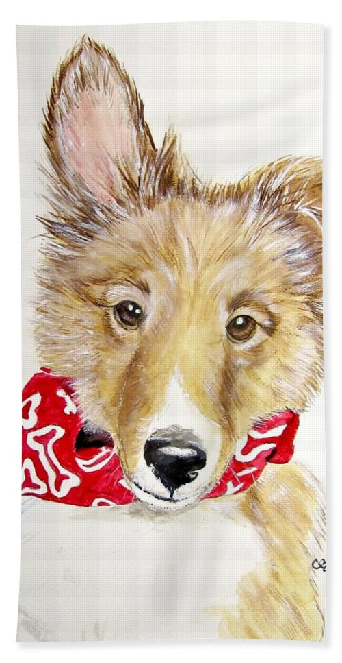 Shetland Sheepdog Painting Beach Towel featuring the painting Tuck by Carol Blackhurst