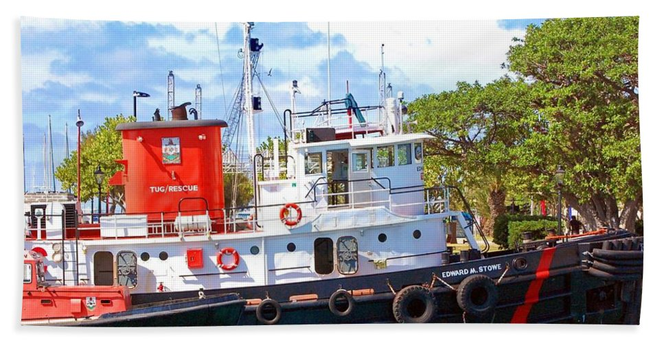 Boat Beach Towel featuring the photograph Tug On It by Debbi Granruth