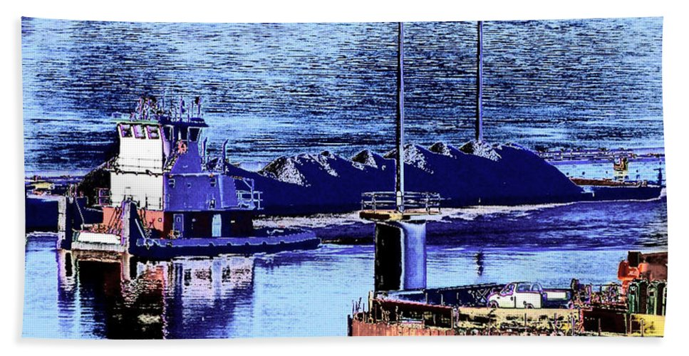 Abstract Beach Towel featuring the photograph Tug Reflections by Rachel Christine Nowicki