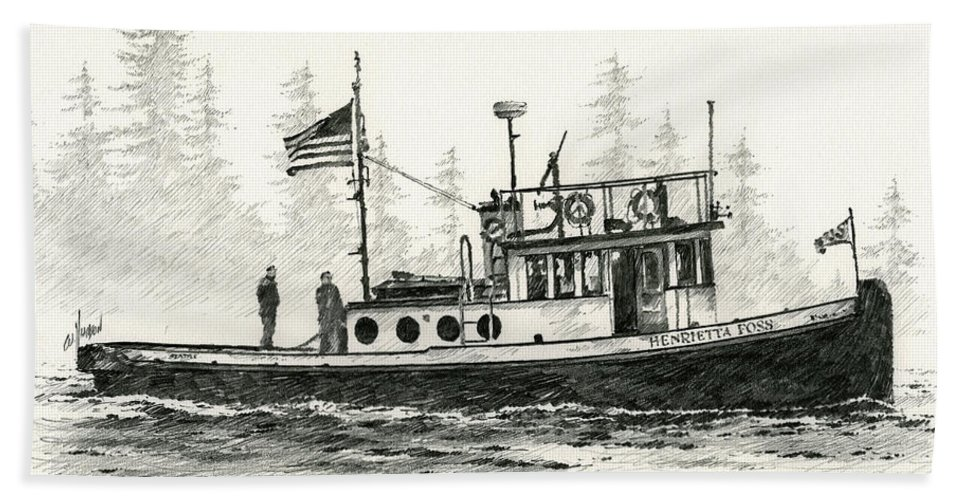 Tugs Beach Towel featuring the drawing Tugboat Henrietta Foss by James Williamson