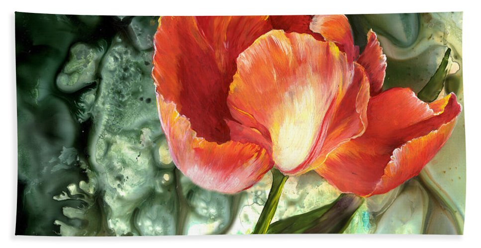 Tulip Beach Towel featuring the painting Tulip Dance by Sherry Shipley