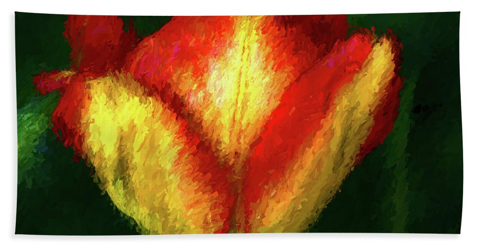 Red Beach Towel featuring the painting Tulip Painting by Mike Penney