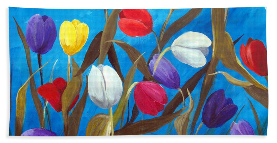 Tulips Beach Towel featuring the painting Tulips Galore II by Ruth Palmer