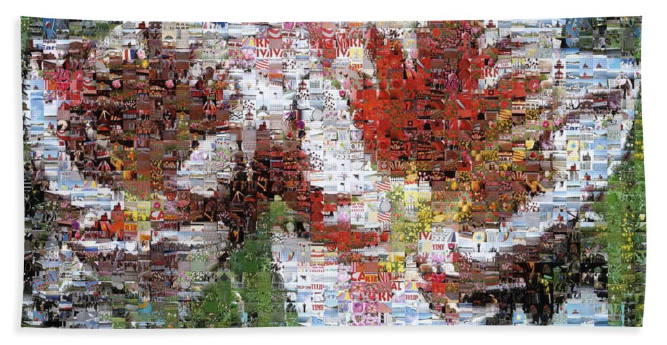 Lighthouse Beach Towel featuring the photograph Tulips In Springtime Photomosaic by Michelle Calkins
