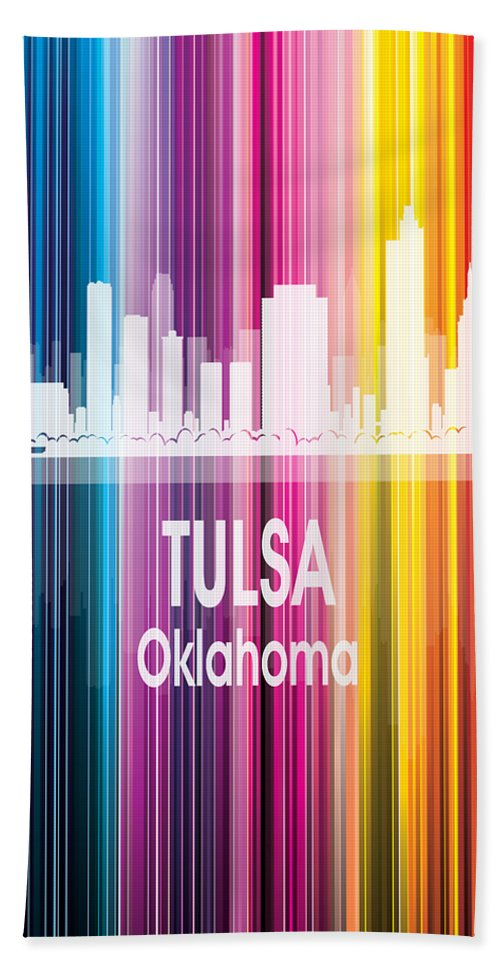 Tulsa Beach Towel featuring the digital art Tulsa Ok 2 Vertical by Angelina Tamez